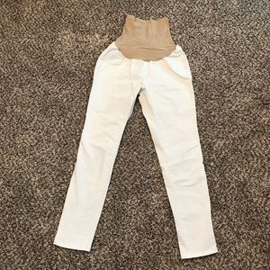 Maternity White Crop Jeans